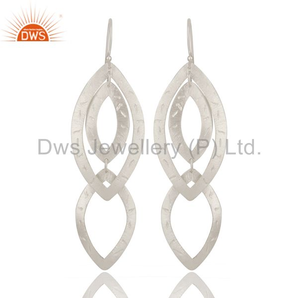 Handmade Solid Sterling Silver Hammered Multi Triangles Long Drop Earrings