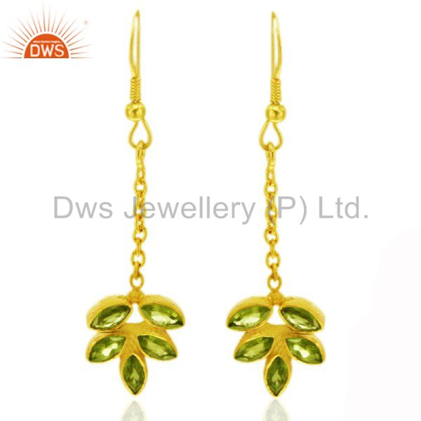 18K Yellow Gold Plated Sterling Silver Peridot Designer Dangle Earrings