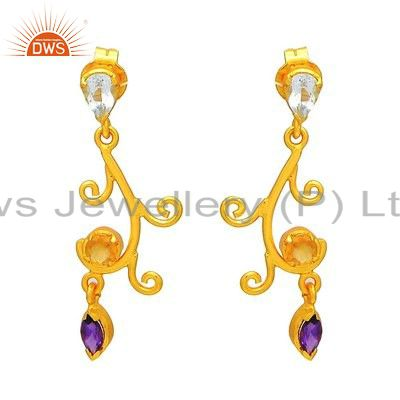 Handmade Sterling Silver Amethyst & Blue Topaz Gemstone Earring - Gold Plated