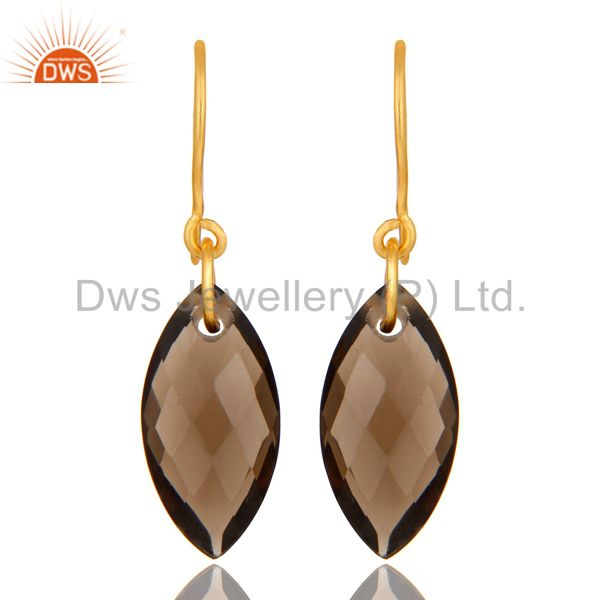 18K Yellow Gold Plated Sterling Silver Smoky Quartz Dangle Hook Earrings