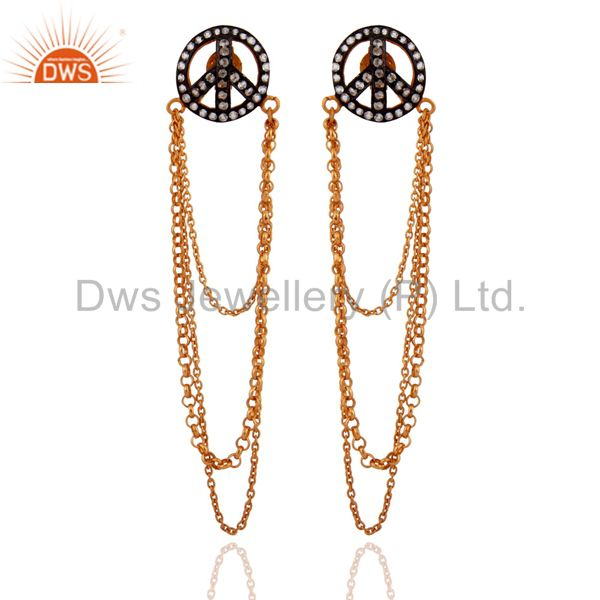 White Zircon 18k Gold Plated 925 Sterling Silver Chain Peace Sign Dangle Earring