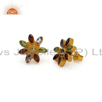 18K Yellow Gold Plated Sterling Silver Multi Colored Gemstone Stud Earrings