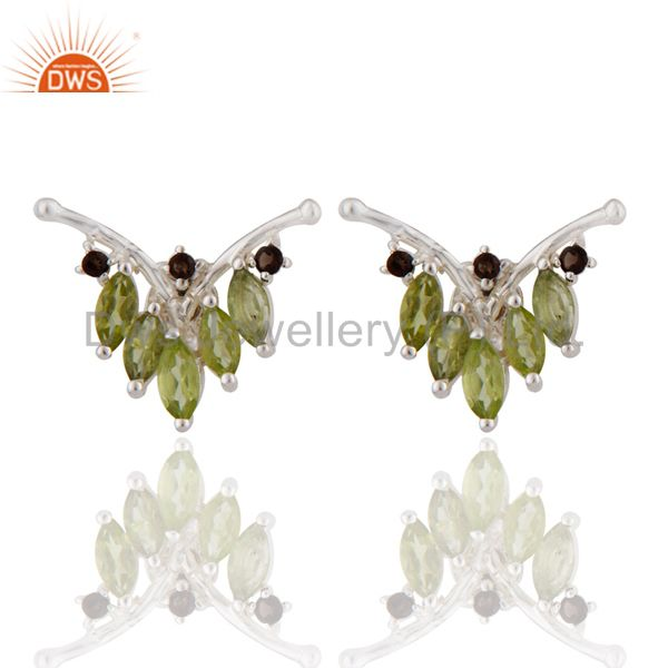 925 Sterling Silver Peridot And Smoky Quartz Gemstone Cluster Post Stud Earrings