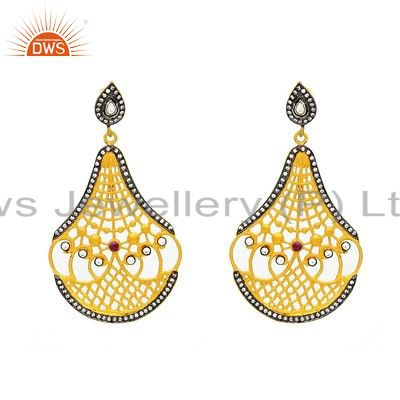 18K Gold Plated Sterling Silver Filigree Designer Earrings With Tourmaline
