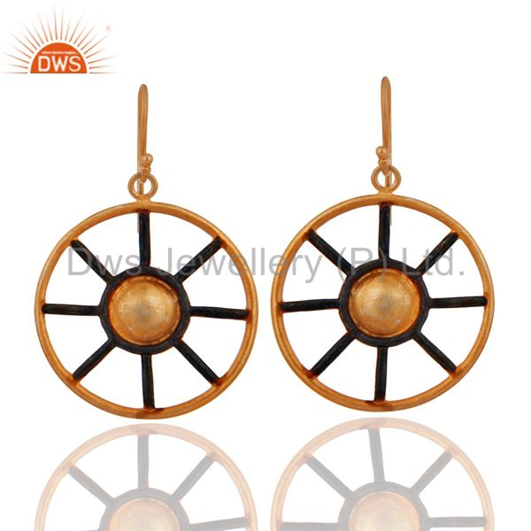 "24k GOld Vermiel Sterling Silver Handmade Designer ""Ship Wheel"" Dangle Earrings"