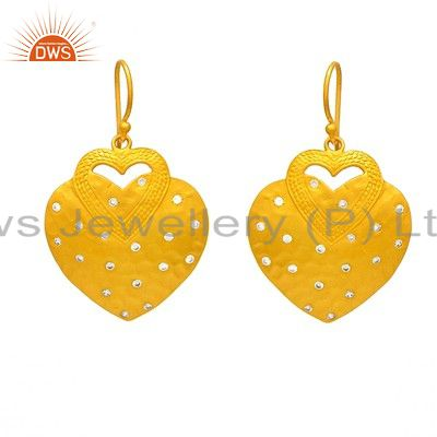 Unique Handmade Gold Plated Sterling SIlver Heart Design Earring With Zircon