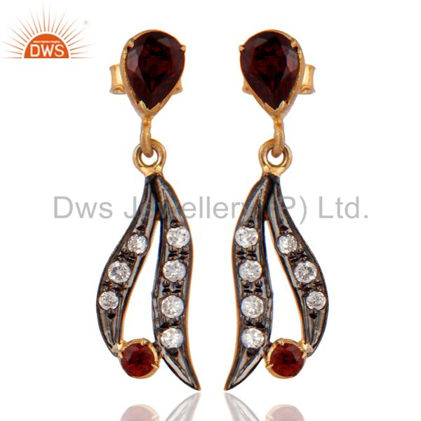 925 Sterling Silver Yellow Gold Plated Natural Garnet Gemstone Earrings With CZ