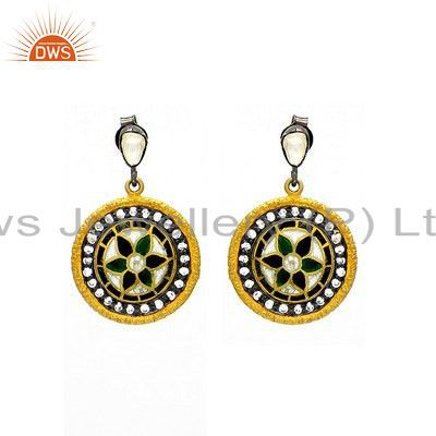 18K Yellow Gold Plated Sterling Silver CZ Crystal Polki Disc Earring With Enamel