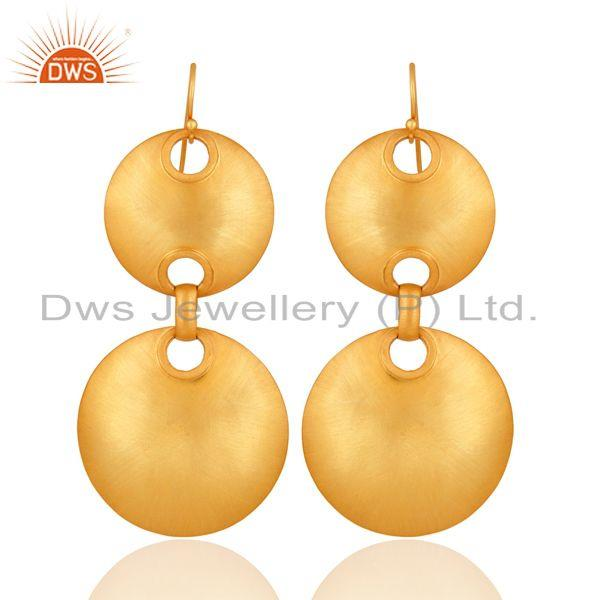 Handmade Indian Artisan Solid Sterling Silver Gold Plated Disc Design Earrings