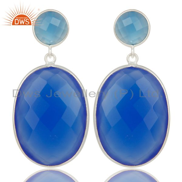 Solid 925 Sterling Silver Faceted Blue Chalcedony Bezel Set Drops Earrings