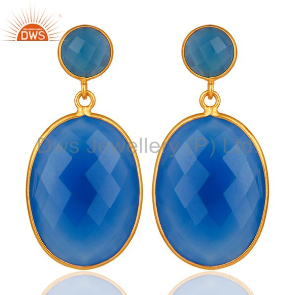 Sterling Silver Faceted Blue Chalcedony Bezel Set Drop Earrings Gold Plated