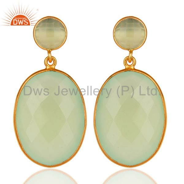 Sterling Silver Faceted Green Prehnite Gemstone Bezel Set Drop Earrings - Gold V
