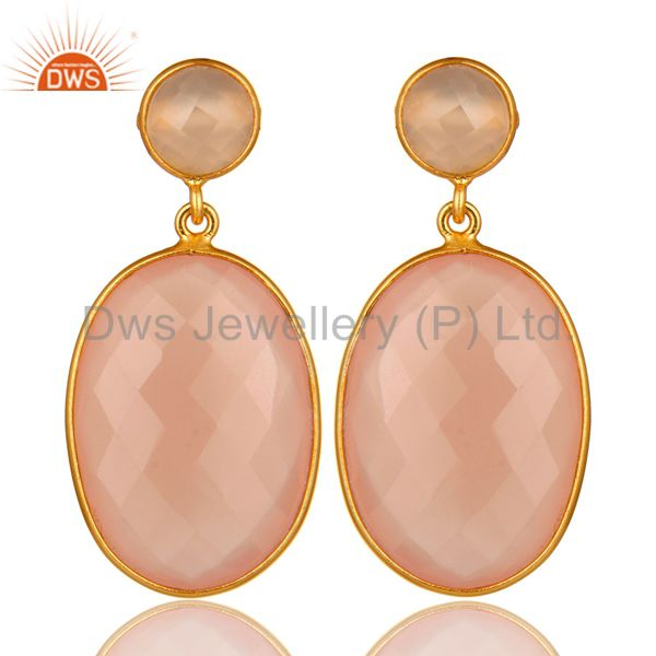 Faceted Rose Chalcedony Gemstone Drop Earrings Made In 18K Gold Over Silver
