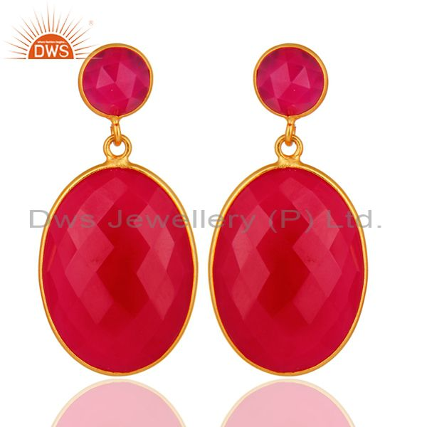 Faceted Pink Chalcedony Drop Bezel Set Earrings In 18K Gold Over Sterling Silver