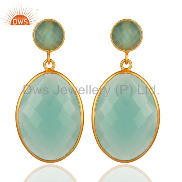 Aqua Chalcedony Gemstone Silver Gold Plated Drop Earrings Jewelry