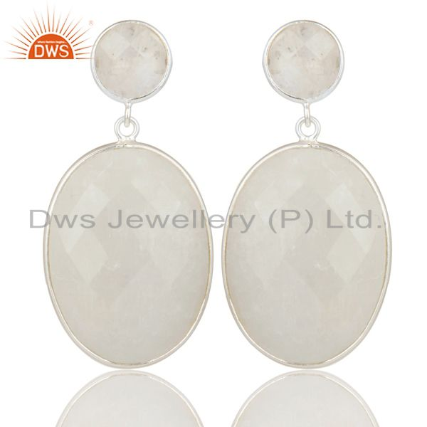 Indian Solid 925 Sterling Silver Rainbow Moonstone Gemstone Drops Earrings