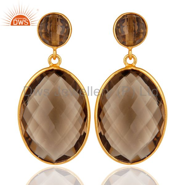 Faceted Smoky Quartz Gemstone Gold Plated Sterling Silver Dangle Earrings