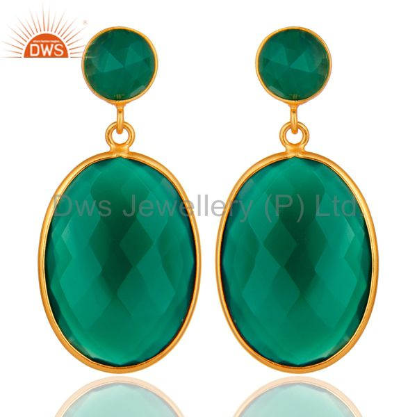 Faceted Green Onyx Gemstone Bezel-Set Drop Earrings In 925 Sterling Silver