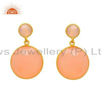 18K Yellow Gold Plated Sterling Silver Rose Chalcedony Bezel Set Drop Earrings