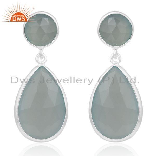 Aqua Chalcedony Gemstone 925 Sterling Silver Simple Earring Manufacturer Jewelry