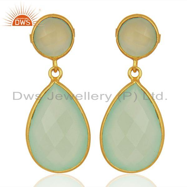 Faceted Dyed Blue Aqua Chalcedony Sterling Silver Double Drop Earrings