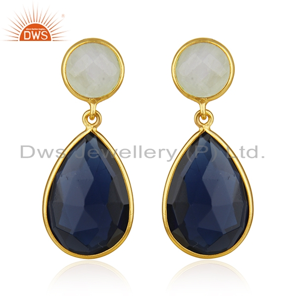 Gold Plated Brass Fashion Gemstone Earring Manufacturer of Wedding Jewelry