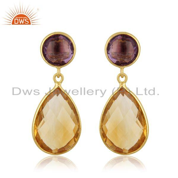 Handmade Gold Plated Sterling Silver Simple Design Multi Gemstone Earrings India