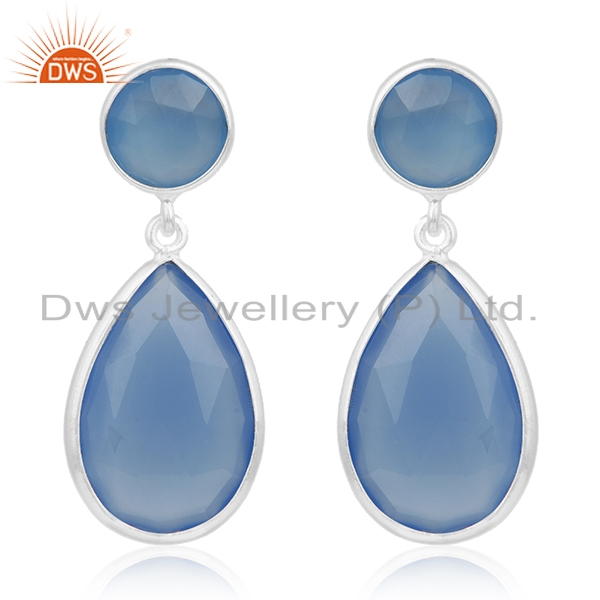 Bezel Set Blue Chalcedony Gemstone 925 Sterling Silver Earring For Womens