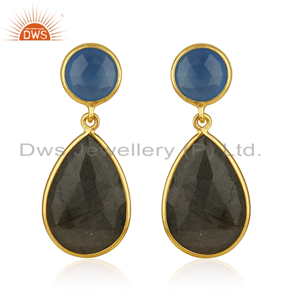 Labradorite and Blue Chalcedony Gemstone Gold Plated Fashion Earring Suppliers