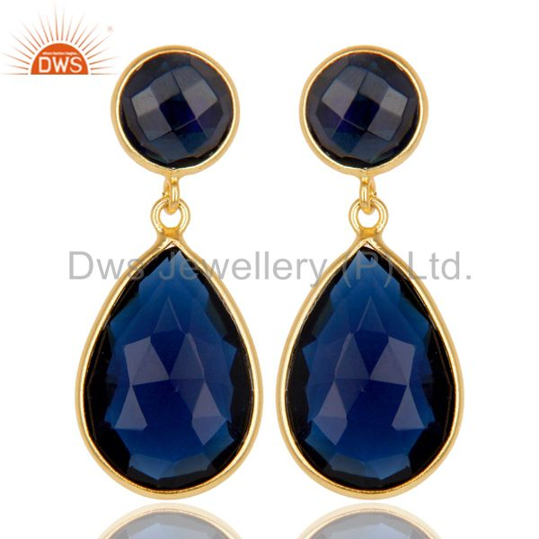14K Gold Plated 925 Sterling Silver Blue Corrundum Bezel Set Drops Earrings