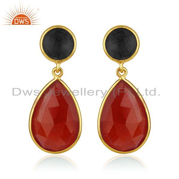 Onyx Red and Corundum Blue Gold Plated Brass Fashion Gemstone Earring Wholesaler
