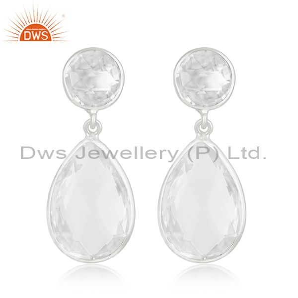 Clear Crystal Quartz 925 Sterling Silver Dangle Earring Manufacturer of Jewelry