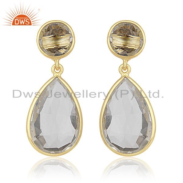 Crystal Quartz Gemstone 925 Silver GOld Plated Dangle Earrings Wholesale India