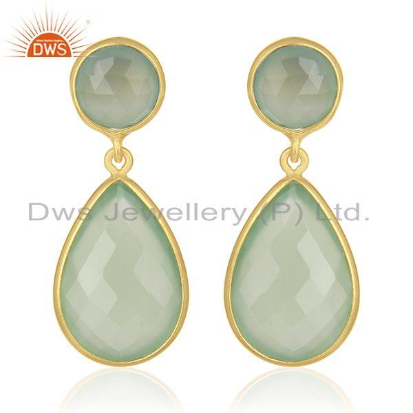 Green Chalcedony Gemstone 925 Sterling Silver With Gold Plated Drop Earrings