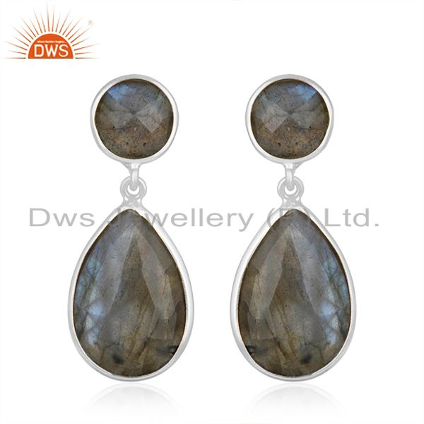 Natural Labradorite Gemstone 925 Sterling Silver Drop Earring Manufacturers