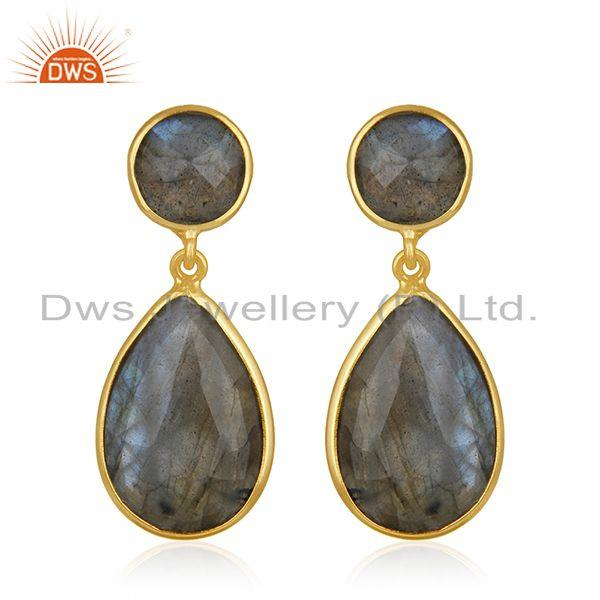 Natural Labradorite Gemstone 925 Sterling Silver Gold Plated Earring Supplier
