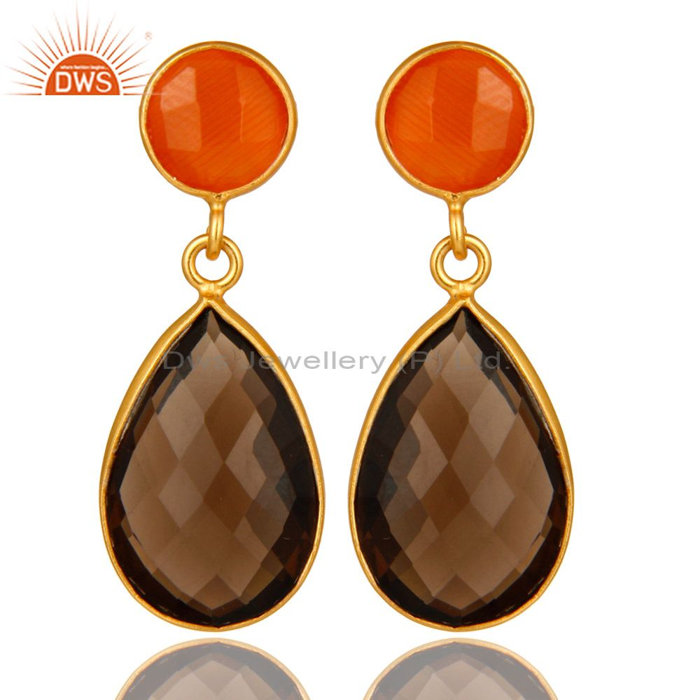 14K Gold Plated Sterling Silver Peach Moonstone And Smoky Quartz Drop Earrings