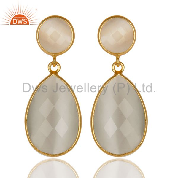 14K Gold Plated 925 Sterling Silver White Moonstone Bezel Set Drops Earrings