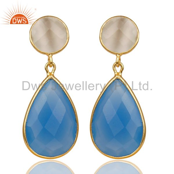 14K Gold Plated 925 Silver Dyed Chalcedony & Moonstone Bezel Set Drops Earrings