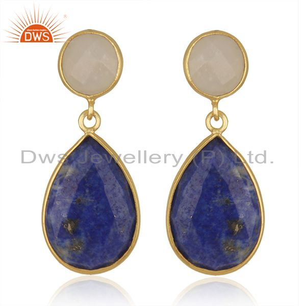 14K Gold Plated 925 Silver Lapis Lazuli & Moonstone Bezel Set Drops Earrings