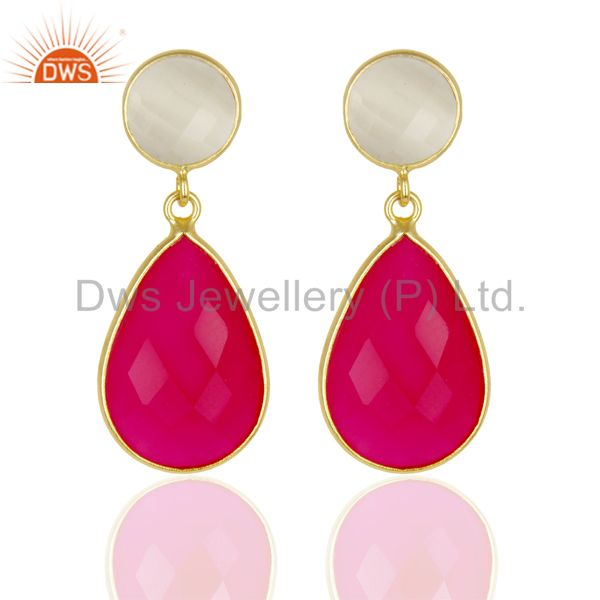 14K Gold Plated 925 Sterling Silver Moonstone & Pink Chalcedony Drops Earrings