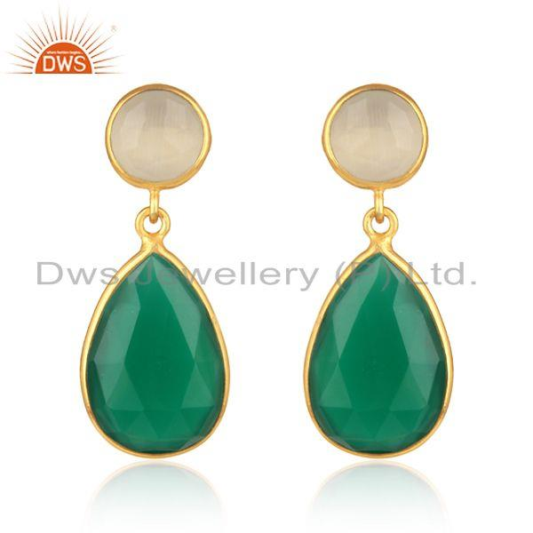 Gold on silver 925 white moonstone & green onyx drops earrings
