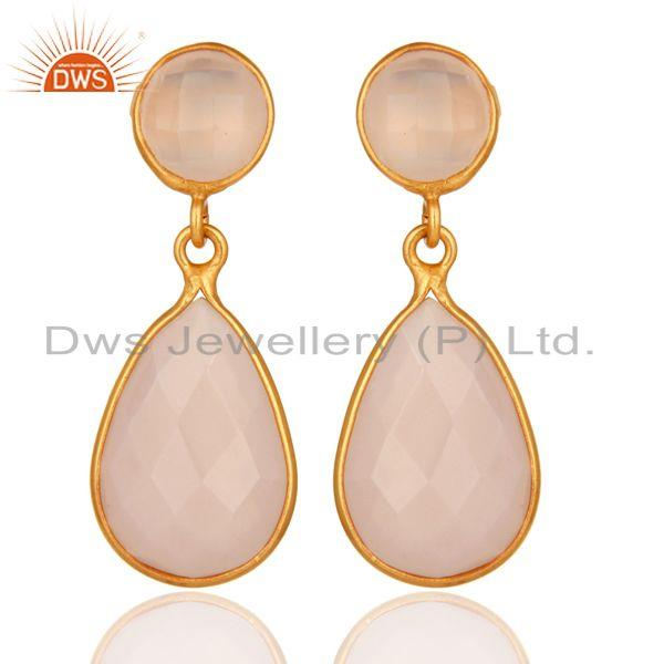 Gold Plated Faceted Rose Chalcedony Sterling Silver Drop Earrings