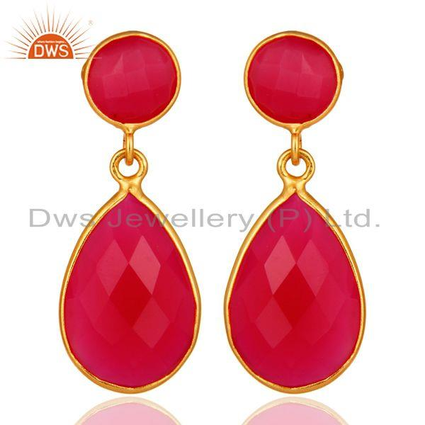 Faceted Dyed Pink Chalcedony Pear Shape 925 Silver Drop Earrings - Gold Plated