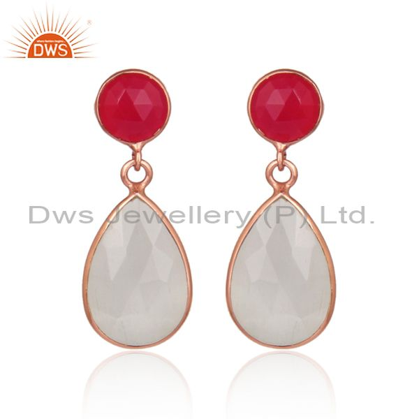 Moon stone pink chalcedony rose gold on silver earrings