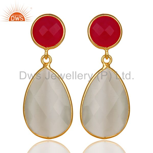 14K Gold Plated 925 Silver Dyed Chalcedony & Moonstone Bezel Set Drop Earrings