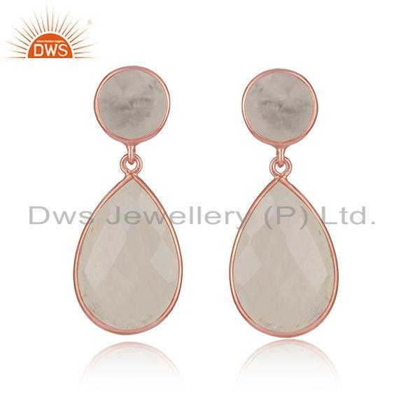 Rainbow Moonstone Rose Gold Plated 925 Silver Handmade Earrings
