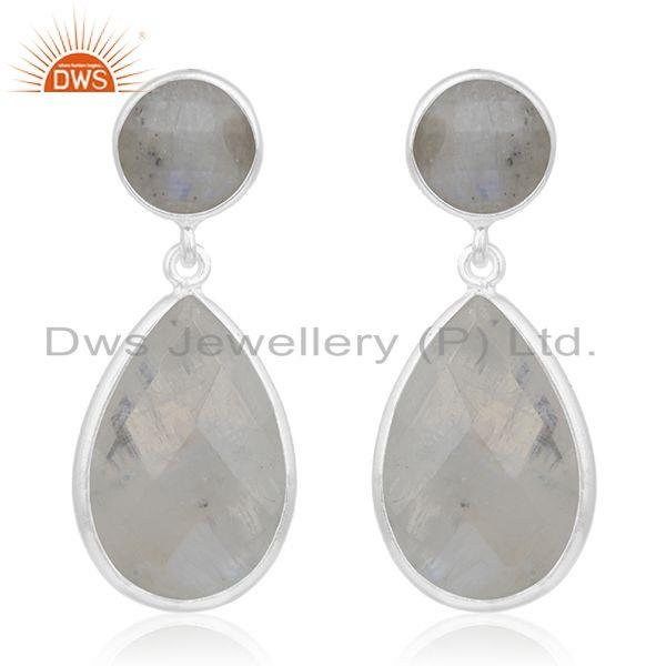 Rainbow Moonstone 925 Sterling Silver Bezel Set Gemstone Earring Manufacturer