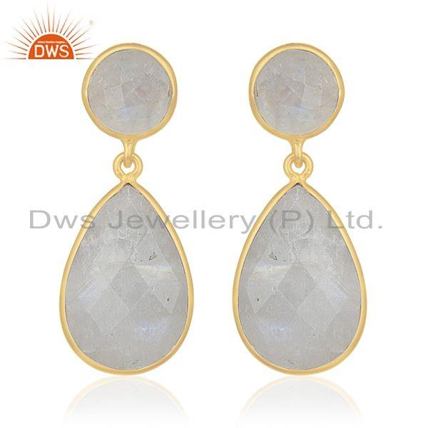Rainbow Moonstone 925 Silver Gold Plated Dangle Earrings Manufacturer for Brands