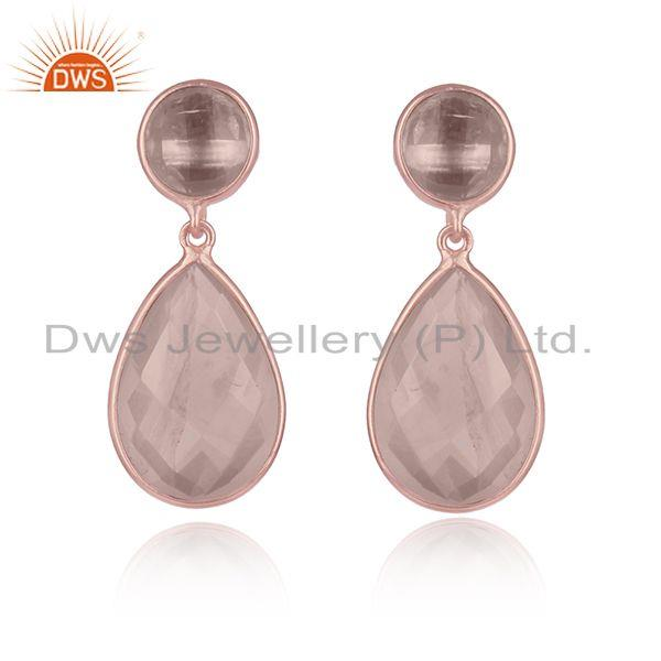 Quartz Gemstone Rose Gold Plated Sterling Silver Gemstone Earrings